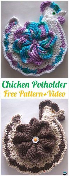 Crochet Chicken Potholder Free Pattern+Video - Crochet Pot Holder Hotpad Free Patterns