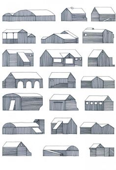 Nigel Peake - 22 Buidlings on the road (from In The Wilds). Drawings for house building block. Study Architecture, Vernacular Architecture, Architecture Drawings, Architecture Details, Illustrations, Illustration Art, Old Gates, Arte Popular, Presentation