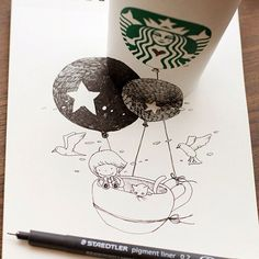 Cool and Creative 3D Starbucks Cup Drawings