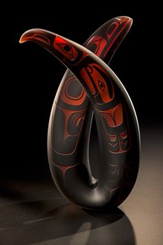 Eagle & Raven Dancers by Preston Singletary - Blown Glass Sculpture Hand-blown and Sand-carved Glas