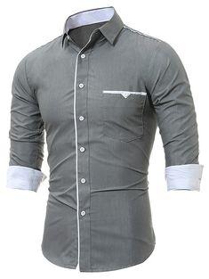Edging Pocket Long Sleeve Shirt - GRAY L Shirt Price 300aa913f9b2