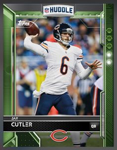 Jay Cutler Chicago Bears Green Parallel Card 2016 Topps HUDDLE