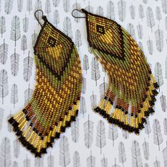 Fringe Earrings Seed Bead Earrings Beaded by AmorphiaDesigns