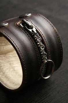 "Leather Cuff, Leather Bracelet: Brown Leather Cuff Bracelet with Zipper ""Z-Cuff"". $65.00, via Etsy."
