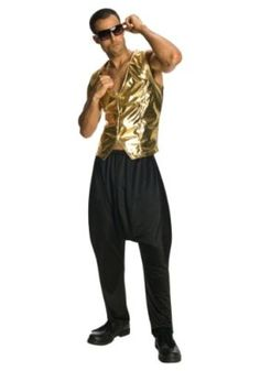 Gold Lame MC Hammer vest - Get a fashion lesson real fast.This one piece vest has working buttons in the front. Pair it with our old school pants for a crazy rapper costume. One size fits most. Dance Pants, Parachute Pants, Harem Pants, Rapper Costume, Mc Hammer Pants, Gold Vests, Rainbow Costumes, Black Costume, Cool Costumes