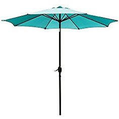 SNAIL 9′ Patio Umbrella UV Protection Fade Resistant Outdoor Market Umbrella with Push Button Tilt, 8 Ribs, Turquoise