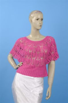 Pineapple pink bat sleeve poncho with charts