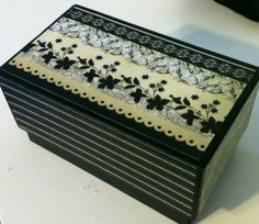 Take old iPhone box and cover it with scrapbook paper and seal with Mod Podge. I came up with this idea and I love it. It's a gift box or small jewelry box!