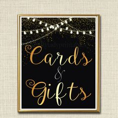 Cards & Gifts Signs, Black and Gold Party Decor, Graduation Party, Birthday Party, Wedding Decorations, Card Table, Gift Table Art Printable