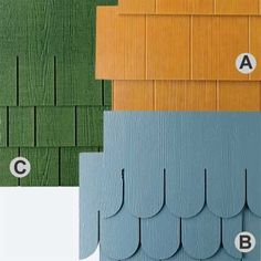 Sold in strips and individual shingles, these styles are as follows: A. NichiFrontier  in Hazelnut, about $4.50 per square foot; Nichiha. B. WeatherBoards half rounds, in Coastal Blue, about $3.75 per square foot; CertainTeed. C. WeatherBoards stain-finish, random-square straight edge  in Emerald, about $7 per square foot; CertainTeed