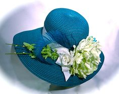 Teal   Lime Derby Spring Women s Hats by Marcellefinery on Etsy b8ff61afa50