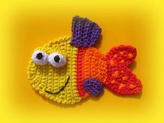 Bright Coloured Fish Crochet Appliqué Pattern. $3.50 for pattern 5/15