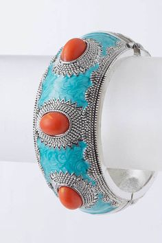 turquoise bracelet and corral gems, pretty.