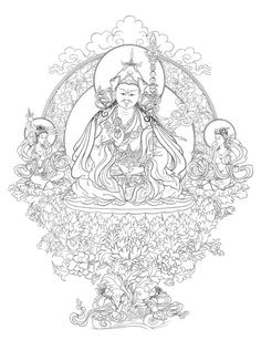 Padmasambhava with his two consorts Mandarava & Yeshe Togyel. Coloring Books, Coloring Pages, Buddha Tattoo Design, Tibet Art, Thangka Painting, Buddha Art, Sacred Art, Types Of Art, Ancient Art