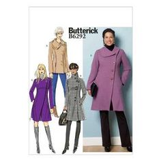 Butterick B6292 Misses' Coat 8 - 16