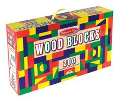 Melissa & Doug 200 Wood Block Set: 200 blocks in four colors and nine shapes for your little builder to stack, build, and knock down! Bright, non-toxic colors add to construction and sorting fun. Wooden Building Blocks, Wooden Blocks, Building Toys, Stacking Blocks, Wooden Buildings, All Themes, Melissa & Doug, Kids Party Supplies, Office Supplies