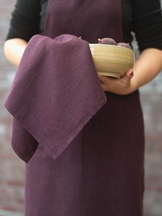 X2 TEA TOWELS 42 x 70 cm AUBERGINE 100% LINEN LARA NEW