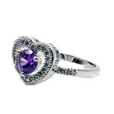 Sterling Silver Purple Cubic Zirconia Heart Ring, Size 5.75