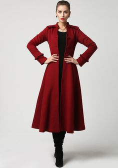 Dark red wool maxi jacket winter coat dress 1104 by xiaolizi