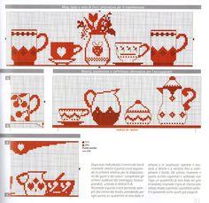 asciugapiatti monocolre rosso punto croce caffettiere tazze (2) - magiedifilo.it punto croce uncinetto schemi gratis hobby creativi