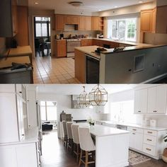 7 Jaw Dropping Kitchen Remodel Ideas Before And After. 7 Jaw Dropping Kitchen Remodel Ideas Before And After These breathtaking before and after kitchen renovations will inspire and motivate you to transform your own! Kitchen Cabinet Remodel, New Kitchen Cabinets, Dark Cabinets, Kitchen Counters, Laminate Countertops, Remodel Bathroom, Concrete Countertops, Dishwasher Cabinet, Countertop Decor