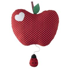Babyspieluhr Apfel aus Baumwolle rot H 25 cm