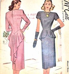 1940s McCALL Pattern 7019 Cocktail Dinner Dress Striking Swallow Tail Back Peplum Totally Glam Film Noir Style  Bust 32 Vintage Sewing Pattern