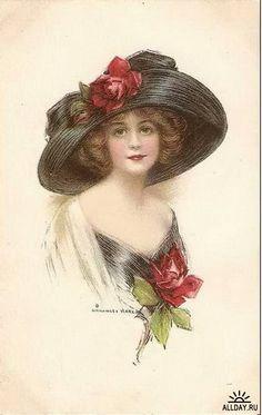 vintage postcards woman | Женский образ на старой открытке...
