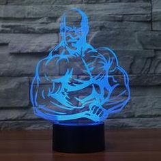 Illusion Night Light LED Light 7 Color with Touch Switch USB Cable Nice Gift Home Office Decorations,Muscle Man Best Night Light, Night Lamps, Night Lights, 3d Optical Illusions, Creative Lamps, Touch Lamp, Lighted Canvas, Art And Technology, Color Change