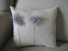 Silver Fuzzy Dandelion Pillow by dedeetsyshop on Etsy, $26.00