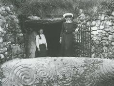 New Grange Ireland Ancient Megalithic Burial Chamber. Solar symbols on the large stone