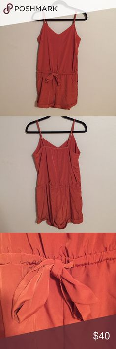 J.Crew silk auburn romper -Never worn -Size XS but fits like a small -Adjustable waist - Adjustable straps -Trendy color and style J. Crew Other