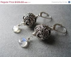 EARRING SALE 15% off Gatsby Ornate Sterling Ball  and baby Moonstone earrings on Etsy, $106.25