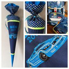 Schultüte aus Stoff Polizei 110, Polizeiauto, Polizeihubschrauber, Hubschrauber, Auto, Blaulicht, appliziert, Applikation, passend zum Schulranzen, Zuckertüte