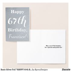 """Basic Silver Foil """"Happy Birthday"""" + Name Foil Card Happy 42nd Birthday, Birthday Name, Card Birthday, 40th Birthday, Birthday Ideas, Foil Card, Wrapping, Greeting Cards, Paper"""
