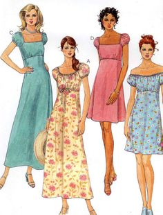 90s Boho dress Empire waist dress in two lengths Peasant style sewing pattern McCalls 9340 Sz 4 to 8