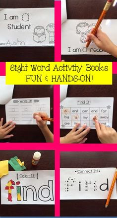 Teaching sight words is fun with Sight Word Activity Books! All Dolch Pre-Primer Sight Words are included. Each book has a short story with four activities to practice sight word recognition, and writing. Teaching Sight Words, Dolch Sight Words, Sight Word Practice, Sight Word Games, Sight Word Activities, Literacy Activities, Reading Activities, Literacy Centers, Kindergarten Reading