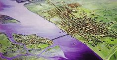 The Romans founded Londinium (now called London) in 43 AD. This artist's illustration of Londinium in 200 AD shows the city's first bridge over the Thames River.