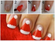 Santa's Hat | 21 Easy Holiday Nail Designs