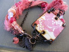 Spring Blushes Pink Bracelet  Flower Ephemera by SoulsFireDesigns