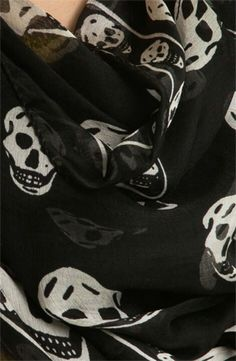 Alexander McQueen scarf. I'd die for this!!! Why does it have to be $300?!? Chiffon Scarf, Silk Chiffon, Gothic Aesthetic, Alexander Mcqueen Scarf, Skull, Nordstrom, Elegant, Birthday, Fashion