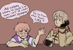 Hahaha... well I think people go a bit over bored with the whole 'dark' thing, seeing as they make Oliver a cannibal, but I can see him snapping and going yandere/yangire if you piss him off... as well as poisoning his food purposely.