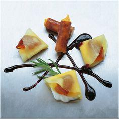 262 |   dobladillos de mango con queso fresco y miel (El Bulli, 1994, postre)