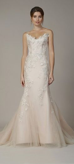"""ecd7dc3c1f3 Liancarlo Fall 2018 """"Romero vines"""" embroidery on French tulle strapless  mermaid gown in blush. Annalise Bridal Boutique LLC"""