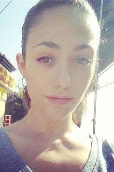 Emmy Rossum snaps a selfie on the set of Shameless on Aug. 11, 2014.   - MarieClaire.com