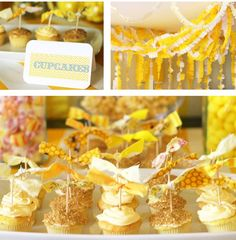 Bright yellow cupcakes and streamers.