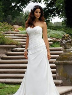 Customer-Made Pure White Strapless Chiffon Sweetheart Beach Ruched Lace Up Satin Wedding Dress for Brides