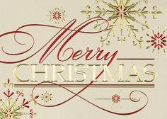 Golden Merry Christmas - Holiday Greeting Cards-The Office Gal Merry Christmas is announced boldly in red and gold foil amongst snowflakes on this chic gold linen stock. Send this stylish card to friends, family and associates.
