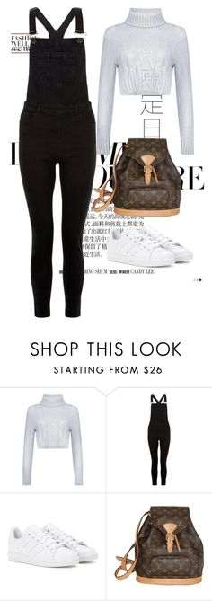 """""""Untitled #1087"""" by marjanne-mestilainen ❤ liked on Polyvore featuring Boohoo, New Look, adidas and Louis Vuitton"""