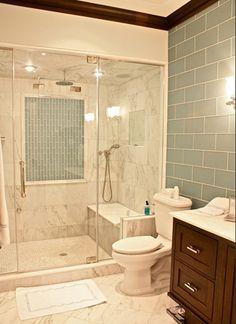 glass walled shower... love the tile timeless yet modern